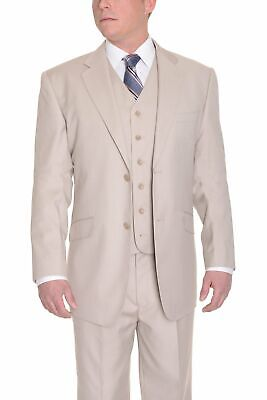 Classic Fit Solid Tan Sand Two Button Three Piece Wool Suit