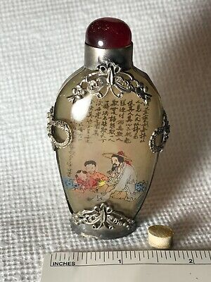 Vintage Glass & Silver Chinese Snuff Bottle, Painted Figures with Poem Inside