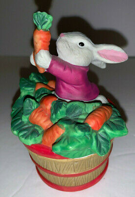 Porcelain Round Box shaped like a Barrel with Rabbit & Carrot on top