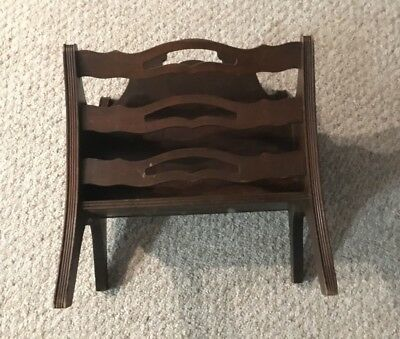 antique solid 1940's MAHOGANY wood  magazine Rack stand