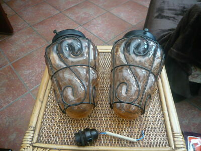Pair 2 X Vintage Old Hand Blown Caged Glass Light Fitting / Porch Hall Lantern