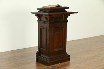 Victorian Oak Antique Lectern, Reception Stand, Pulpit, Leather Top #32911