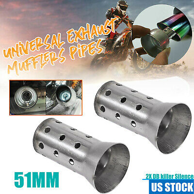 2Pc Universal Motorcycle DB Killer Silencer 51MM Exhaust Pipe Can Muffler Baffle