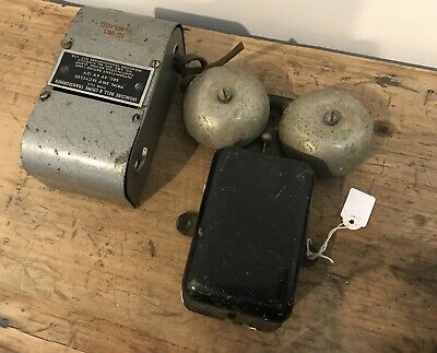 Vintage 1940s 50 60s Electric House Doorbell Ironcore Bell & Chime Transformer