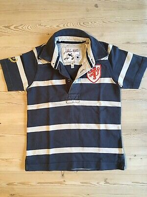 JOULES LITTLE JOULE boys age 4 years blue white rugby t-shirt shirt top polo