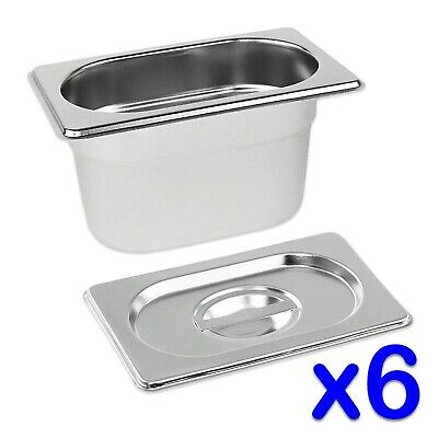 STAINLESS STEEL FOOD PANS 6x GASTRONORM 1/9 TRAYS AND LIDS 100mm DEEP BAIN MARIE