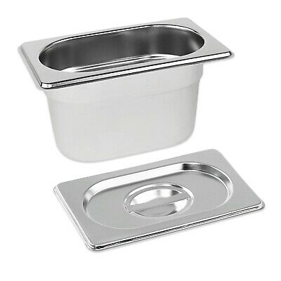 STAINLESS STEEL PAN TRAY GASTRONORM 1/9 CONTAINER WITH LID 100mm DEEP BAIN MARIE
