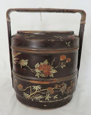 Fine Quality Antique Chinese 3 Tier Gilt Lacquered Wedding Basket