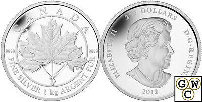 2012 Kilo 'Maple Leaf Forever' $250 Silver Coin .9999 Fine (12989)