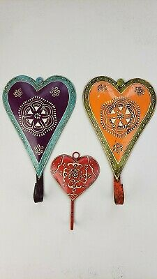 Decorative hand painted all metal jacket/coat hanger or hook  - wall decoration