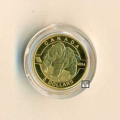 2014 Gold 'Grizzly Bear - O Canada' Proof $5 Gold Coin .9999 Fine (13828) (OOAK)