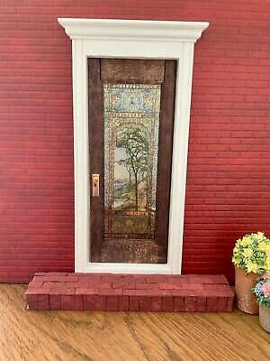 Scenic Dollhouse Miniature Single door Stained Glass Film