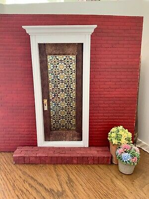 Mosaic  Dollhouse Miniature Single door Stained Glass Film
