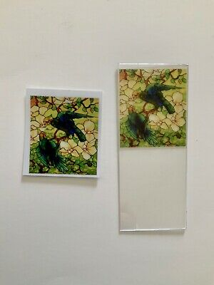 Blue Parrots Dollhouse Miniature Victorian  Stained Glass Window Film