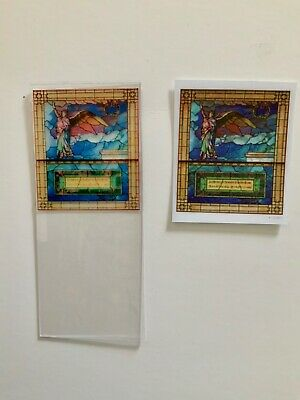 Angel with Border Dollhouse Miniature Victorian  Stained Glass Window Film