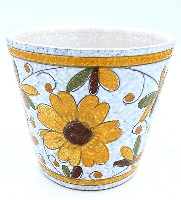 """Yellow Green Floral Hand Painted Ceramic 5.5"""" Flower Pot Planter Made In Italy"""