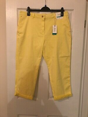 Brand New With Tag Joules Womens Hesford Crop Lemon Chinos Size 18 Summer