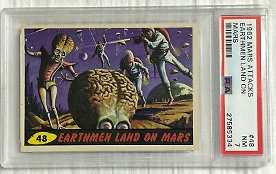 1962 MARS ATTACKS Earthmen land on Mars #48 PSA 7