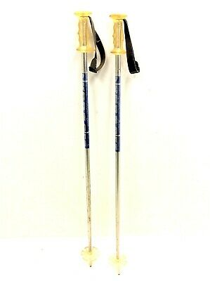 Pair of Vintage Used Kerma GT Silver Mens Downhill Skiing Ski Poles