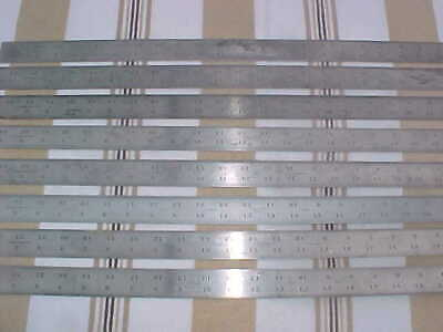 Lot of 8  24 inch  mixed Lufkin and LS Starrett Steel Shrink Rules  used shape
