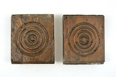 2 Antique Plinth Rosette Block Door Window Oak Wood Trim Moulding ~4 x 4.75 x 1