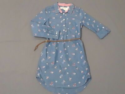 NWT H&M girls size 8-9 blue floral shirt dress with belt Spring Trendy 8 9 NEW