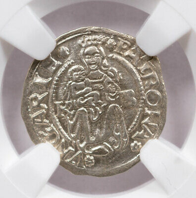 Random Date c.1450-1620 AD Hungary Silver Madonna Child NGC UNC Details SKU47576