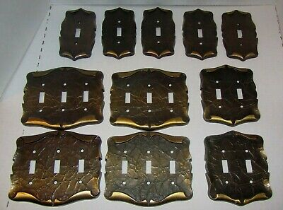 11 Vintage Metal Outlet Light Switch Cover Plates Single Double Triple - MCM