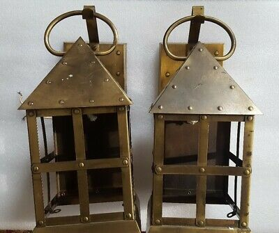 Vintage Lightolier Mission Arts & Crafts Exterior Porch Light Wall Sconce Pair