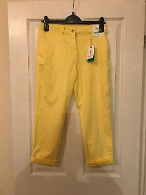 Brand New With Tag Joules Women's Hesford Crop Chinos Lemon Size 10 Summer