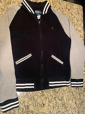 Polo Ralph Lauren Men's Sweater Jacket Black And Grey Full Zip Up Cotton Sz L
