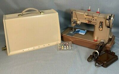 Vintage 1961 Singer Model 328K Sewing Machine - -w/Case--SERVICED--SEWING WELL