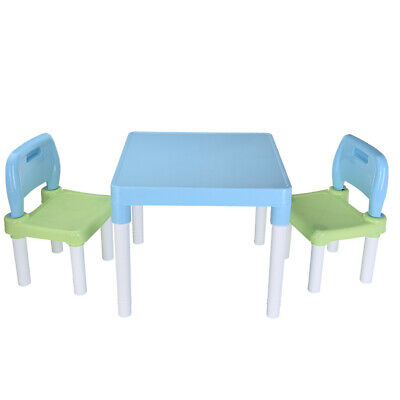 Children Kids Table And 2 Chairs Nursery Garden Plastic Outdoor Study Sets