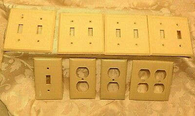 Vtg 8 pc Bakelite Ivory  Wall Plate Outlet Covers Light Switch Siera Bryant USA