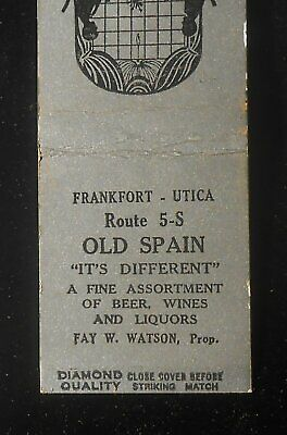 1930s Diamond Quality Old Spain Beer Fay W. Watson Route 5-S Utica Frankfort NY