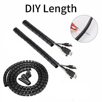 5M Cable Wire Cover Cord Management Sleeve Electrical Wire Organizer HolderBlack