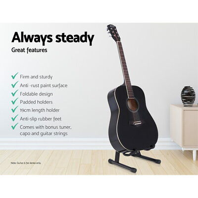 Alpha Folding Guitar Stand  Capo Tuner Electric Acoustic Bass Floor Rack Holder