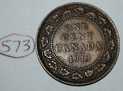 Canada 1913 1 Large cent Canadian one George V Penny coin Lot #573