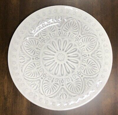 "Shabby Chic NEW!!! MELAMINE DINNER Medallion GREY BEIGE 10.5"" Plates Gray"