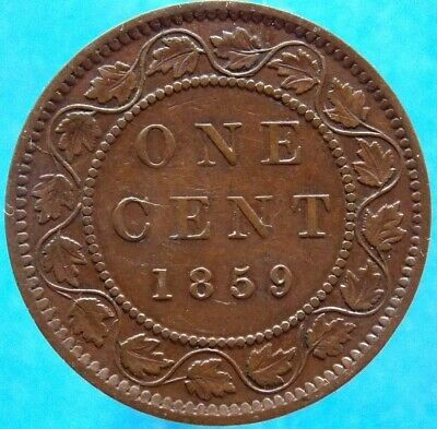 1859 - Re-punched 5 Canada Canadian Large 1 Cent Victoria Coin - Haxby PC59-180