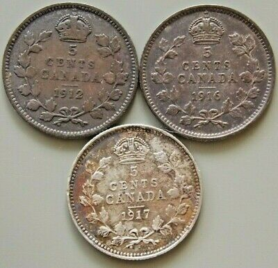 1912 1916 1917  Canada Canadian Silver 5 Cent George V Coins - Lot Of 3