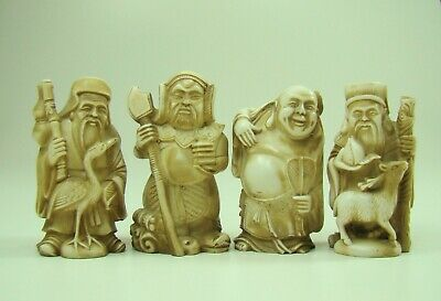 Antique Four Chinese Carved Statues Figures