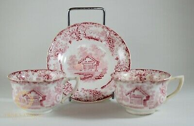Antique 19Th Century Pearlware Cottage Transfer Print Demitasse Cups & Saucer