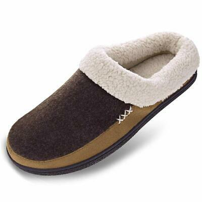 VONMAY Men's Wool Plush Fleece Lined Slip On Memory Foam Clog House Slippers Ind