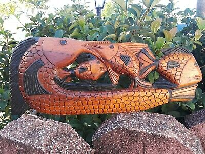 "VINTAGE HAND CARVED FOLK ART WOODEN 4 FISH CARVING WALL PLAQUE 21"" Long"