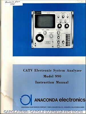 ANACONDA Manual 990 CATV ELECTRONIC SYSTEM ANALYZER