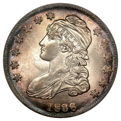 1836 50C Lettered Edge Capped Bust Half Dollar PCGS AU58 (CAC) O-106A Beaded ...