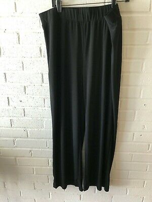 New NY Collection Woman's Pull On Wide Leg Jersey Knit Pants   Black   2X   T37