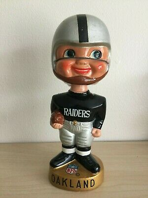 Los Angeles Raiders Vintage Bobblehead  Extremely Scarce Gold Base Nodder