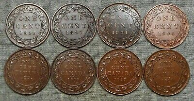Lot Of 8 Canada Large Cents - 1859, 1897, 1901, Etc.
